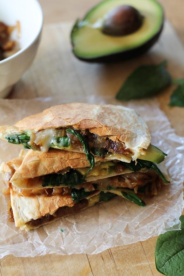 avocado_caramelized_onion_spinach_quesadilla